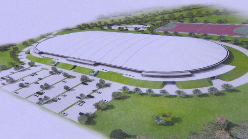 Visualisierung der Eisschnelllauhalle in Nové Město na Moravě (Quelle: ČT24)