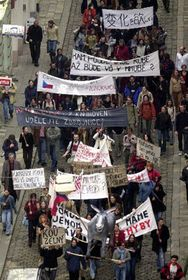 Protests of the students, photo: CTK
