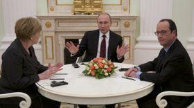 Ангела Меркель, Владимир Путин и Франсуа Олланд (Фото: ЧТК)