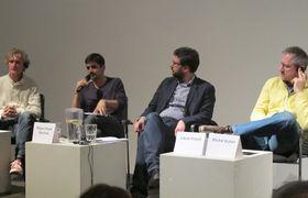 Miguel Ángel Sánchez en la conferencia 'Confundidos por la Imagen (Zmateni obrazem)' (el segunde de izquierda), foto: Dominika Bernáthová