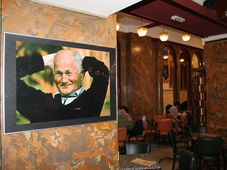 Exhibition of photographs of Bohumil Hrabal by Jan Kaplan at Lucerna Café in Prague, photo: Ondřej Tomšů