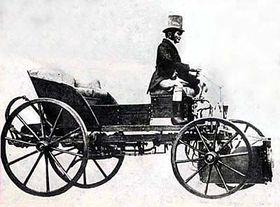 Josef Božek in his steam carriage