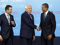 Anders Fogh Rasmussen, Václav Klaus y Barack Obama. Foto: ČTK