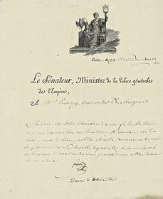 Lettre de Fouché à Jean-Marie Joseph Emmery, maire de Dunkerque. Paris, 29 messidor an XII (18 juillet 1804)