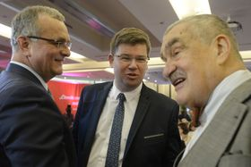 Miroslav Kalousek, Jiří Pospíšil, Karel Schwarzenberg, photo: CTK