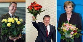 Zleva předseda FDP Guido Westerwelle, šéf SPD Gerhard Schröder apředsedkyně CDU Angela Merkelová, foto: ČTK