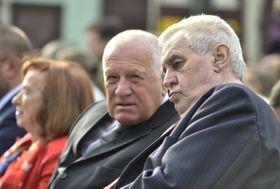 Вацлав Клаус (слева) и Милош Земан, Фото: ЧТК