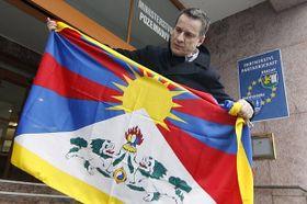 La campaña 'Una Bandera por el Tíbet' en Břeclav (Foto: ČTK)