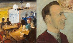Kamil Lhoták, 'En el saloon americano, año 1885' y 'El poeta František Hrubín' 1951, foto: Retro Gallery / Obecní dům