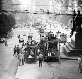 Trams on Wenceslas Square in 1963, photo: CTK