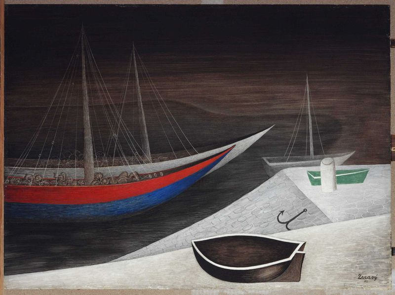 Jan Zrzavý, 'Les bateaux dormants', 1935, photo: Galerie nationale de Prague