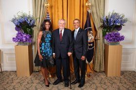 Barack Obama, Michelle Obama y Miloš Zeman, foto: ČTK