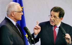 Vaclav Klaus and Romano Prodi, photo: CTK