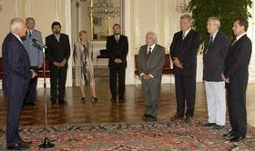 President Vaclav Klaus and Constitutional Court judges, photo: CTK