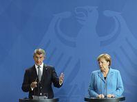 Angela Merkel y Andrej Babiš, foto: ČTK / AP / Markus Schreiber