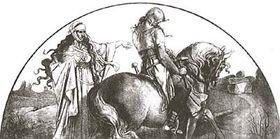 Morana con un guerrero eslavo