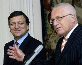José Barroso y Václav Klaus (Foto: CTK)