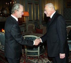 Rey sueco Carlos XVI Gustavo y presidente checo, Václav Klaus, foto: CTK