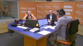 Дискуссия Эвы Голой и Филипа Гумплика в студии Чешского радио - Радио Плюс, Фото: архив Чешского радио