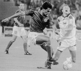 Tchécoslovaquie - Italie, Coup du Monde 1990, Ivan Hašek (à droite), photo: CTK