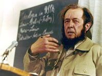 Alexander Solzhenitsyn gives his first news conference in the West since being expelled from Russia, Zurich, 1974