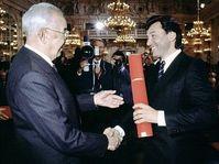 Gustáv Husák et Karel Gott, photo: CTK