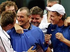 Tomas Berdych, right and Martin Damm, second left, react after winning their double tennis match against Rogier Wassen and Peter Wessels of The Netherlands, photo: CTK