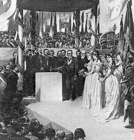 František Palacký při poklepu na základní kámen ke stavbě Národního divadla 16. května 1868, foto: ČTK