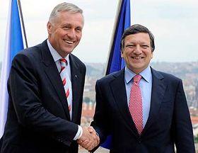 Mirek Topolánek y José Manuel Barroso (Foto: CTK)