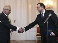 Miloš Zeman, Petr Nečas, photo: CTK