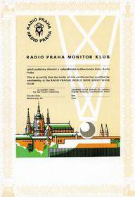 Diploma del Monitor Club de Radio Praga