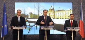 Miroslav Kalousek, Petr Nečas, Radek John, photo: CTK