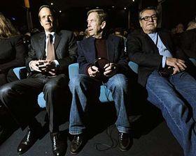 French ambassador to Czech Republic Charles Fries, Václav Havel, Miloš Forman, photo: CTK