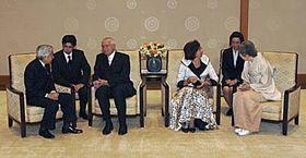 Václav Klaus smanželkou Livií při setkání scísařem Akihitem acísařovnou Mičiko, foto: ČTK