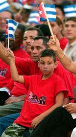 Fugitivo célebre Elián González con su padre Juan Miguel, Santiago de Cuba