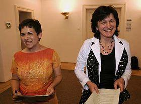 Poslankyně Strany zelených Olga Zubová (vpravo) aVěra Jakubková, foto: ČTK