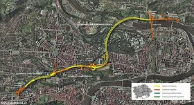 Sistema del transporte con túnel Blanka en Praga, foto: www.tunelblanka.cz