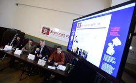 Представление проекта «Свободный форум», слева: Барбора Тахеци, Ян Яндоурек, Томаш Клванья и Павел Шафр (Фото: ЧТК)