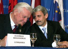De izquierda: Algirdas Brazauskas y Mikulas Dzurindafoto: CTK