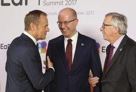 Donald Tusk, Bohuslav Sobotka, Jean-Claude Juncker, photo: ČTK
