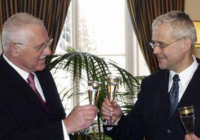 Václav Klaus sVladimírem Špidlou (vpravo), foto: ČTK