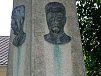 A bronze relief depicting Soviet dictator Josef Stalin on the monumet in Studenec