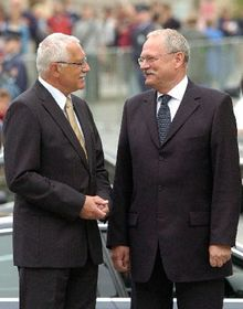 Ivan Gasparovic and Vaclav Klaus, photo: CTK