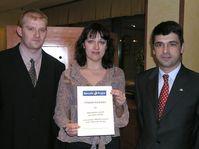 Zdenek Rousek, Klára Rousková, José Ramon Alvarez, director del Hotel Barceló (de izquierda a derecha)