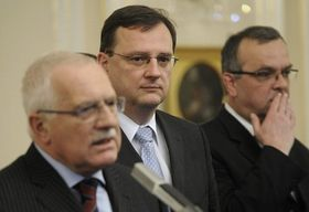 Václav Klaus, Petr Nečas y Miroslav Kalousek, foto: ČTK