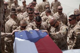 Czech and coalition troops farewell to their three Czech comrades, who died on August 5 in a suicide bomber assault in Afghanistan, photo: ČTK/PR/Armáda ČR