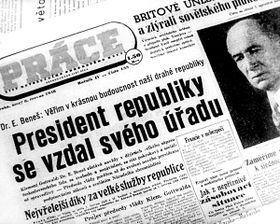 L'abdication du président Beneš, photo: ČT