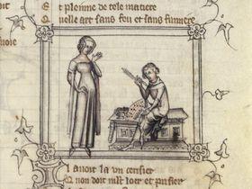 Guillaume de Machaut et le messager de sa dame, source: public domain