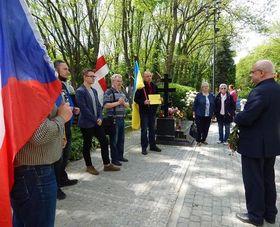 Поминальная церемония в честь жертв СМЕРШ на пражском кладбище Ольшаны, Фото: архив Петра Марка