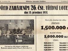 Lotería Clasista Checoslovaca en la céntrica calle Kozí (1931)